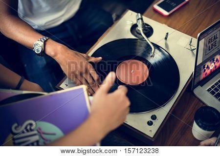 Turntable Vinyl Record DJ Scratch Music Entertainment Concept