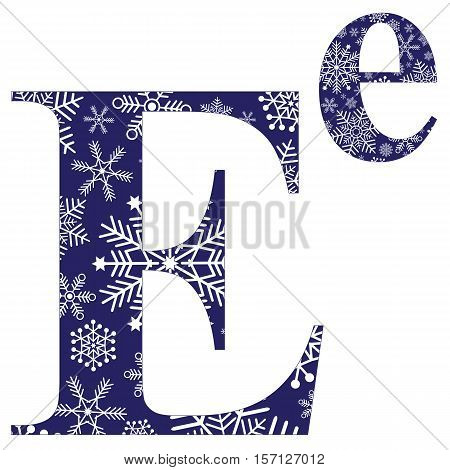 Uppercase and lowercase letters of the English alphabet E with winter pattern carved snowflakes vector