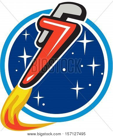 Illustration of a pipe wrench rocket booster blasting off orbiting space set inside circle with stars in the background done in retro style.