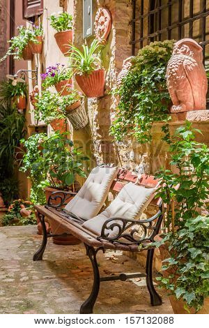 Porch In Small Town In Italy In Summer, Umbria
