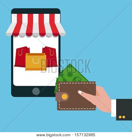 Smartphone wallet and bags icon. Shopping commerce market buy and payment theme. Colorful design. Vector illustration