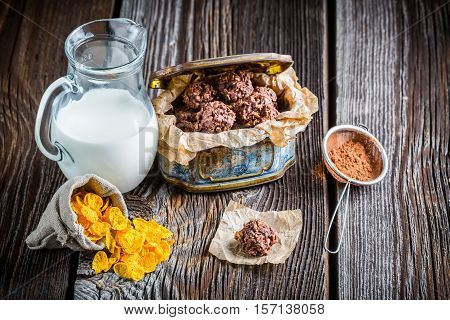 Homemade Sweet Chocolate Balls With Corn Flakes And Milk