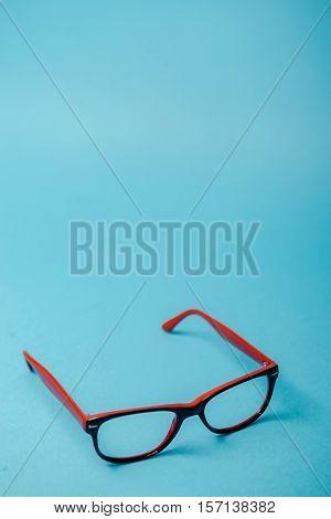Pair Of Red Plastic-rimmed Eyeglasses