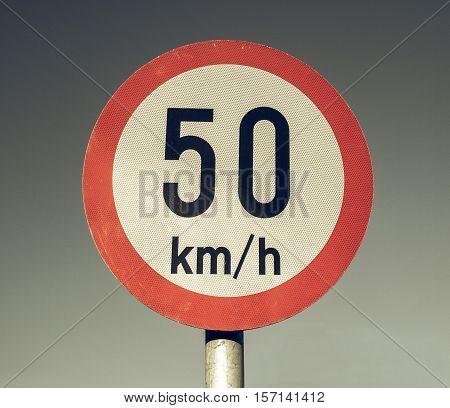 Vintage Looking Speed Limit Sign