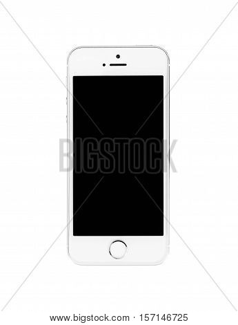 Minsk, Belarus - April 16, 2016: Apple iPhone 5, 5S. White version. Front view. The operating system iOS 9. The founders of the company: Steve Jobs, Ronald Wayne, Steve Wozniak. Apple Inc Located in USA