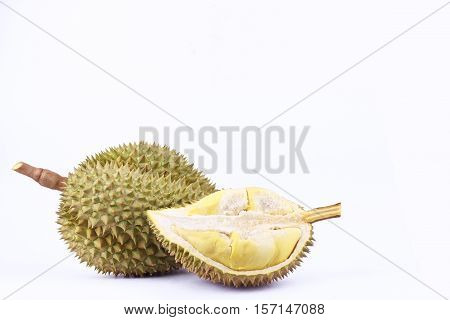 yellow peeled   durian and  mon thong durian  is fruit plate tropical durian and  king of fruits durian on white background healthy durian fruit food isolated