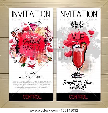 Valentine Cocktail party poster. Invitation design. Vector illustration
