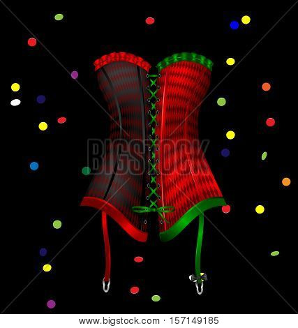 dark background and the large red green black carnival corset of New Year, carnival confetti