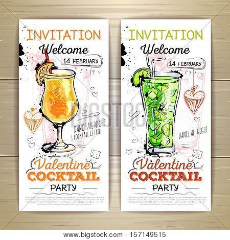 Vector illustration of Valentine cocktail party poster. Invitation design