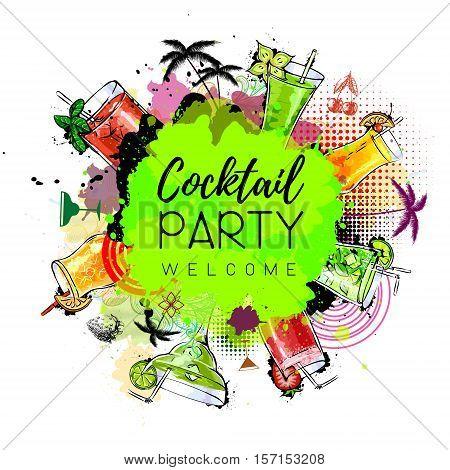 Vector illusration of Cocktail party poster design. Cocktail menu