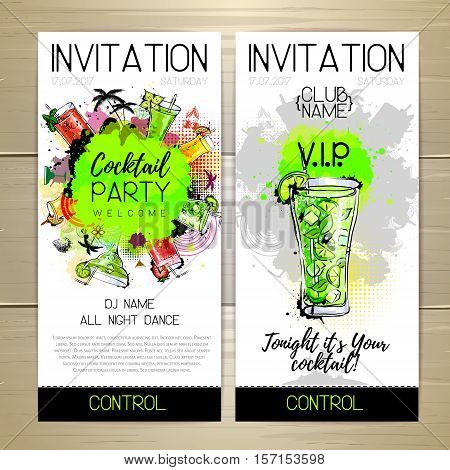 Vector illstration of Cocktail party poster. Invitation design.
