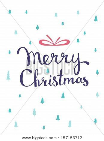 Vector Christmas Illustration With Green Color Fir Trees And Handwritten Text Merry Christmas On Whi