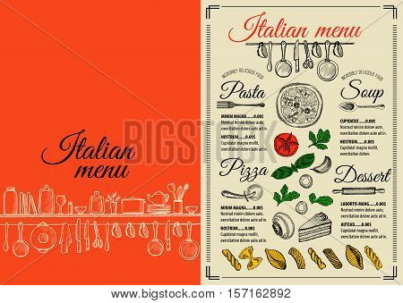 Italian menu placemat food restaurant brochure template design. Vintage creative pizza flyer with hand-drawn graphic.