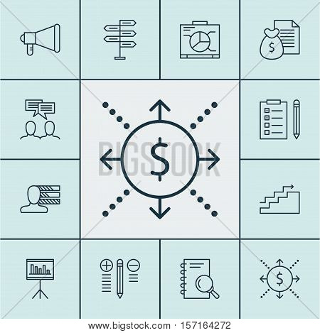 Set Of Project Management Icons On Presentation, Report And Decision Making Topics. Editable Vector
