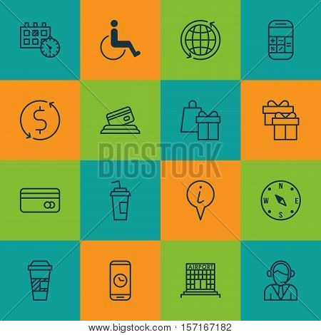 Set Of Travel Icons On Takeaway Coffee, Call Duration And Accessibility Topics. Editable Vector Illu