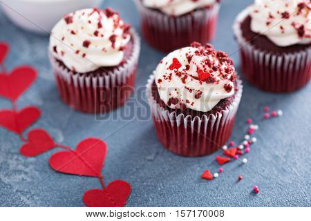 Red velvet cupcakes for Valentines Day in bright colorful ...