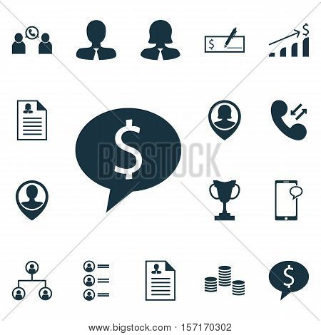 Set Of Management Icons On Cellular Data, Business Woman And Messaging Topics. Editable Vector Illus
