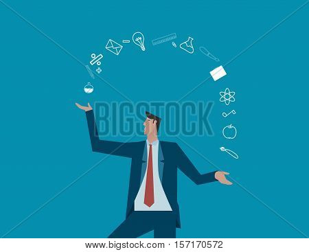 Businessman Juggling With Equipment Education. Concept Business Illustration. Vector Flat