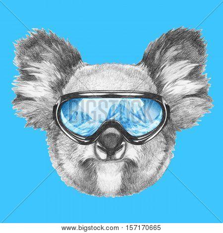Portrait of Koala with ski goggles. Hand drawn illustration.