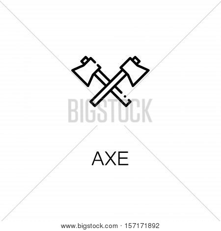 Axe flat icon. Single high quality outline symbol of camping for web design or mobile app. Thin line signs of axe for design logo, visit card, etc. Outline pictogram of camping axe