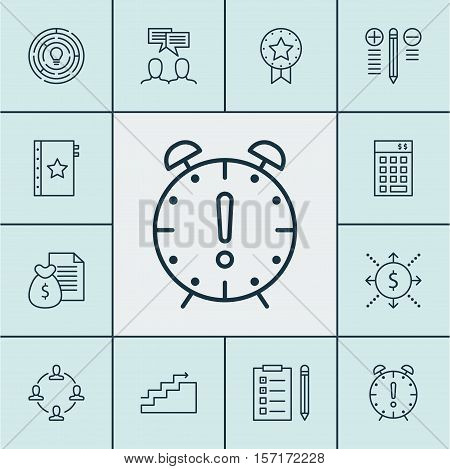 Set Of Project Management Icons On Investment, Discussion And Reminder Topics. Editable Vector Illus