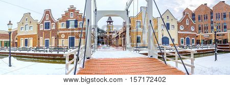 KIEV UKRAINE - NOVEMBER 11 2016: The only one drawbridge in city is located in Dutch Revival style shopping neighborhood on November 11 in Kiev.