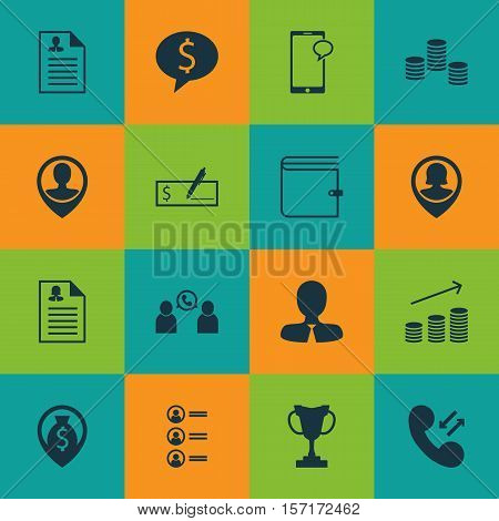 Set Of Human Resources Icons On Money Navigation, Business Deal And Phone Conference Topics. Editabl