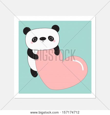 Kawaii panda baby bear.White frame. Cute cartoon character holding big pink heart. Wild animal collection for kids. Blue background. Love card. Flat design. Vector illustration
