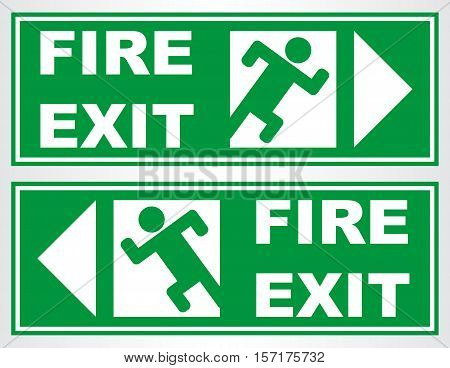 Emergency exit. Fire exit sign. Vector illustration.