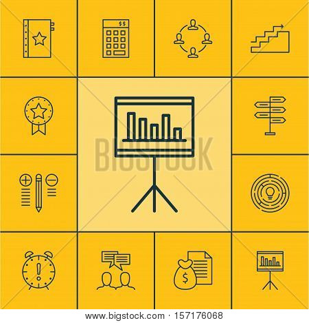 Set Of Project Management Icons On Growth, Present Badge And Investment Topics. Editable Vector Illu