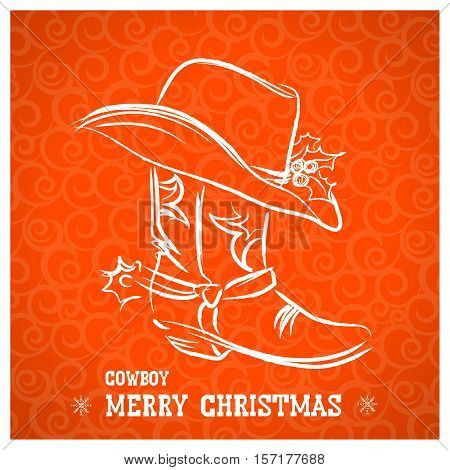 Cowboy Merry Christmas With Cowboy Boot And Western Hat