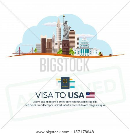 Visa To Usa. Travel To Usa. Document For Travel. Vector Flat Illustration.