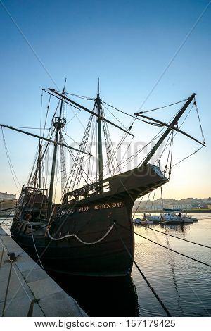 Replica of a caravel a small sailing ship developed by the Portuguese to explore the West African coast in Vila do Conde Portugal