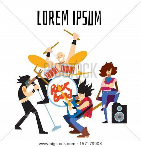 Rock band, music group with musicians concept of artistic people vector illustration. Singer, guitarist, drummer, and bassist isolated characters performing on stage. Rock star music concert.