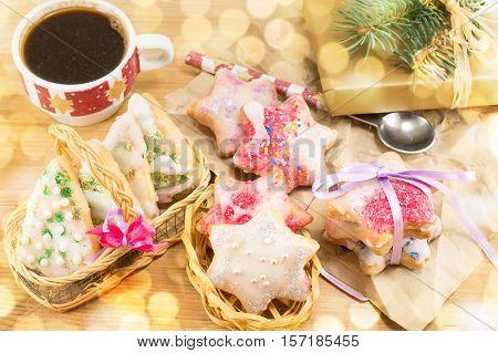 Christmas Shaped Cookies And Hot Tea