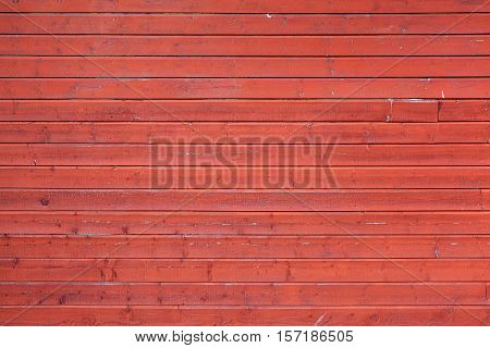Red Rural Wooden Wall, Close-up Texture