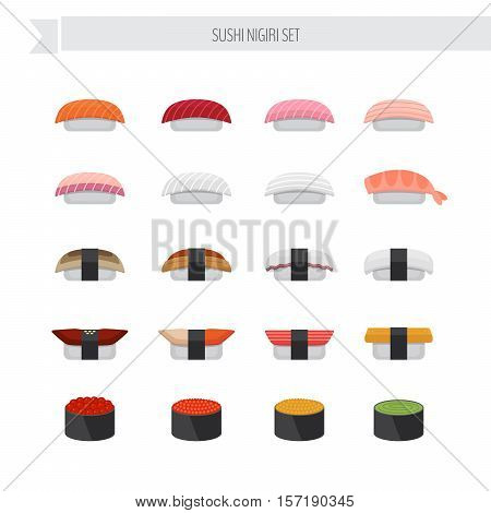 Sushi and roll illustration set. Vector Illustration.