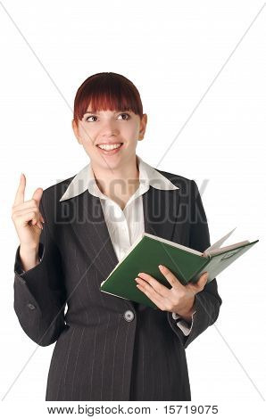 Youing Smiling Business Woman With Notebook In Hand