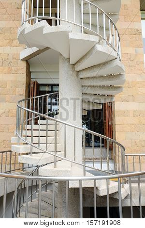 Emergency fire escape staircases on a building exterior