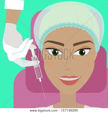 Woman lying on the couch in beauty salon and getting cosmetic dermal injection in her face. Doctor making beauty injections to client. Vector flat design illustration