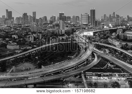 Black and White, City downtown background and highway interchanged