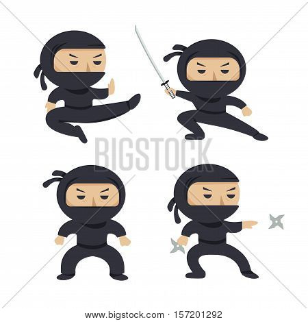 Set of ninja characters showing different actions. Serious ninja with sword running, attacking, throwing star, jumping, kicking, hitting. Flat style vector illustration