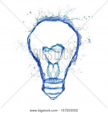 Water splash light bulb isolated on white background. Emergence of the idea Eureka creativity concept.