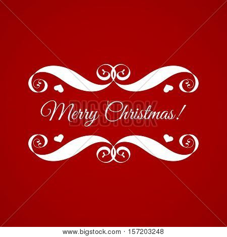 Vector Merry Christmas badge over red. Easy use and recolor elements for your design. Element for logo, banners, labels, postcards, invitations, prints, posters, web, presentation.