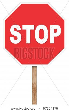 Warning traffic sign isolated on white - Stop