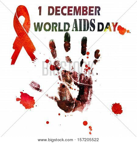 1st December World Aids Day concept with text handprint and red ribbon of aids awareness. Watercolor illustration.