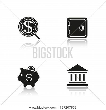 Banking and finance drop shadow black icons set. Bank building, safe deposit box, money search, courthouse, piggybank with coin. Isolated vector illustrations