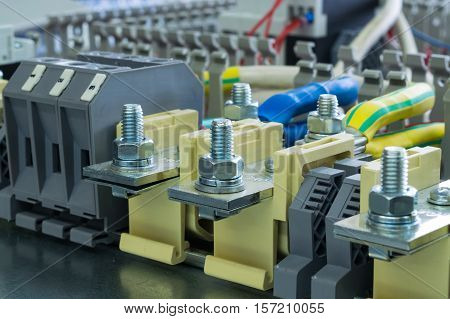 bushing terminals in the electrical control Cabinet on a circuit Board
