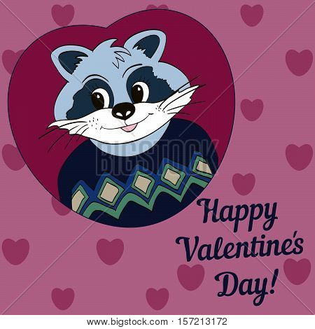 Raccoon in blue jersey. Picture for clothes cards. Happy Valentine's Day!