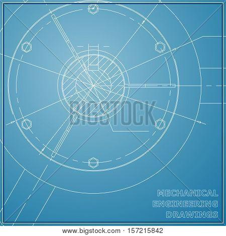 Mechanical engineering drawings. Engineering illustration. Vector blue background